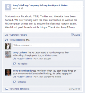 Amy's Baking Company Claims to Be Hacked